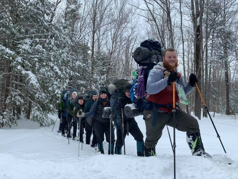 Dynamy application schedule with interns cross country skiing